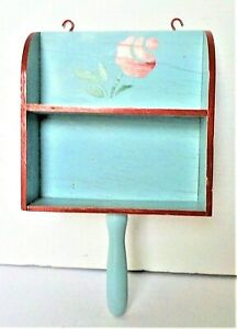 SHABBY CHIC VINTAGE WOOD SCOOP WITH SHELF WALL HANGING FARMHOUSE