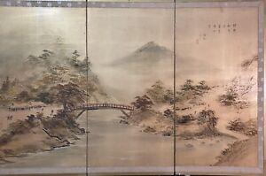 RARE Vtg JAPANESE Uchida Watercolor Landscape Silk Scroll Tri-Panel Painting
