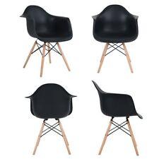 Pack de 4 sillon comedor con las piernas de madera de haya maciza Negro Armrest