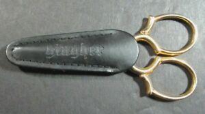 "Embroidery Scissors GINGHER 3.5"" Epaulette Gold Handle/Black LeatherSheath-TN171"