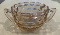 VINTAGE PINK DEPRESSION GLASS OPEN HANDLED SUGAR BOWL BLOCK CUBE PATTERN