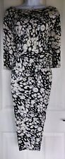 Womens F&f Dress size 20 black grey pencil ruched waist smart work party vgc