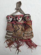 Old ANTIQUE Vintage HAND MADE Peru Burial INDIAN RAG DOLL Dolls Triplets Bed