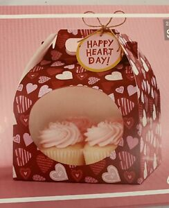 Valentines Day Treat Boxes For Cupcakes 6 Count Red Heart Windowed Cardboard