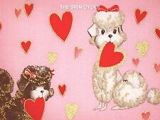 1 Fat Qtr POODLES D'AMOUR French Poodle Dog Retro Pink Red Heart Metallic Fabric
