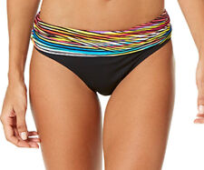 NEW Anne Cole Black Pick Up Stix Foldover Hipster Bikini Bottom L Large