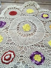 """#R48 Hand Crocheted Doily Floral Red Yellow Purple White 31"""" Doilies Centerpiece"""