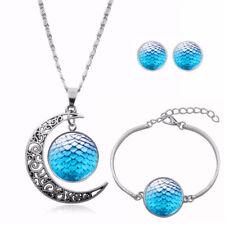 Schmuckset Mond Sonne Sterne hellblau Ohrstecker Armband Anhänger mit Kette