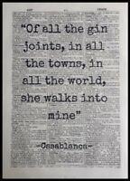 Gin Quote Casablanca Vintage Dictionary Page Print Picture Wall Art Tonic Bar