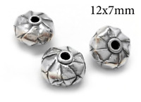 3pc Sterling Silver 925 bead - Hollow Cylinder bead tube 12x7mm Antique silver