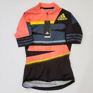 Adidas Women's Adistar Cycling Jersey FJ6600 App Solar Red / Shock Yellow Size S