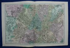 PLAN OF LEEDS, original antique atlas map / city plan, George Bacon, 1895