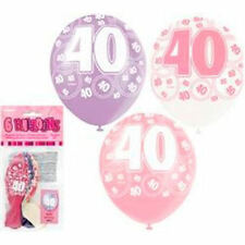 6 X 40th Birthday Balloons in Pink Purple & White Party Supplies Decorations