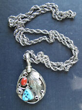 G. HENRY STERLING SILVER 2 SIDED PENDANT & CHAIN w/ TURQUOISE & BEAR CLAW NAVAJO
