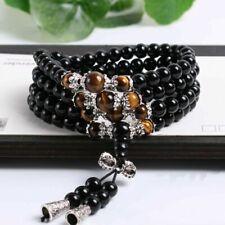 Stone Buddhist Black Obsidian Tiger Eye 108 Prayer Beads Mala Bracelet Necklace