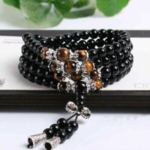 Stone Black Obsidian Tiger Eye 108 Prayer Beads Mala Buddhist Bracelet Necklace