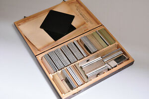 Vintage Clay Adams Wooden Microscope Slide Box w/Used Slides/Geologist UTexas/