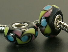 Multicolor Lampwork Glass Large hole charm beads Fits European Bracelets G29