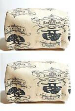 ORIGINS beige gray white cotton makeup bag cosmetic pouch travel case X LOT 2