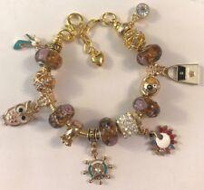 ❤️European CHARM BEADS BRACELET ~ GOLD Plated Beads & Chain ~ FANCY DESIGN  #2❤️