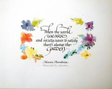 "Karen Weihs ""Garden"" calligraphy embellished by colorful flowers  8X10 print"