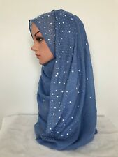 New design Woman plain pearls hijabs Cotton Viscose solid scarf 170x 75 cm
