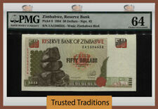 Tt Pk 8 1994 Zimbabwe Reserve Bank 50 Dollars Pmg 64 Choice Uncirculated!