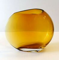"HUGE 13"" Amber Ombre KROSNO Moon Vase Modernist Wedge Round Thick Art Glass! mcm"