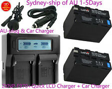 Quick LCD Charger +2x Battery for Sony NP-F970 F770 CCD-TR TRV Camcorder BY AU
