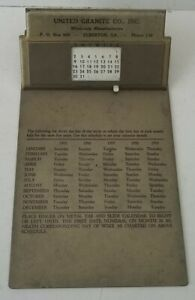 Vintage 1950s Steel Business Desk Calendar Clipboard United Granite Co
