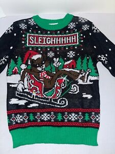 NEW Holiday Boys' Size XS SLEIGHHHHH Christmas Cat Sweater