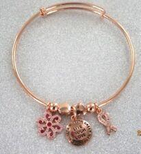 Breast Cancer Remembrance Awareness Bracelet Bangle Heart Rose Gold Live Love