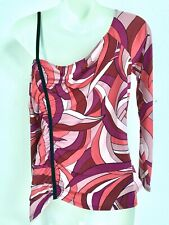 GUESS~SZ XL~ONE SHOULDER~MULTI SWIRL PINK/PURPLE/WINE COLORS~TOP/BLOUSE