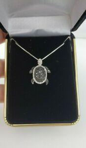 """Sterling Silver Diamond Turtle Pendant With 17.5""""  Sterling Box Chain Signed"""