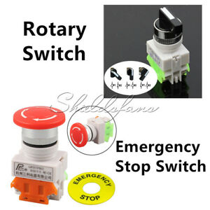 660V 10A DPST Emergency Stop Button LAY7-20X/3 Rotary Three Position Switch