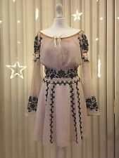 For Love And Lemons Genuine Cream Embroidered Floral Bow Summer dress size S UK8
