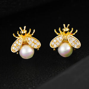 New Bee Insect 925 Sterling Silver Stud Earrings for Women Wedding Jewelry C020