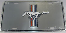 FORD MUSTANG METAL LICENSE PLATE SILVER CHROME L492