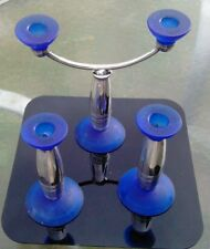 Christofle Silver-Plated Two Tone Royal Blue Base and Top Two Candle Candelabra