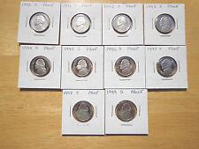 1990 1991 1992 - 1995 1996 1997 1998 1999 S Proof Jefferson Nickel 10 Coin Set