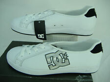 New Womens 5 DC Court Slim White Leather Shoes $55