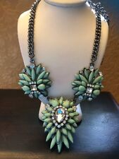 Vintage Silver Tone Light Green Plastic Clear Rhinestone Floral Bib Necklace