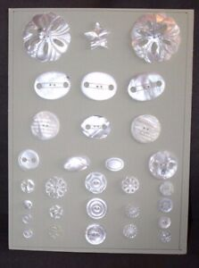 Assorted ANTIQUE Victorian MOTHER OF PEARL Buttons On Card #3 lot l