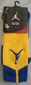 Nike Mens Air Jordan Dri-Fit Crew Socks Yellow/Blue 530977 704 Size 8-12