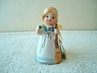 """Vtg 1978 Jasco Merri Bells Bisque Porcelain Girl Holding Broom Bell """" BEAUTIFUL"""