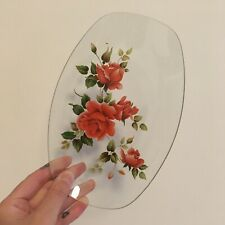 Floral Glass Decorative Trinket Dish Plate Red Rose Vintage