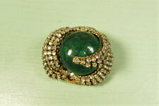 Miriam Haskell Green Brooch - Vintage Rose Montee Art Glass Crescent