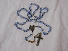 Repaired Catholic Rosary Blue Faceted Beads Germany Cross Crafting Jewelry AS IS
