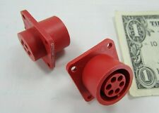 5 Tyco Amp Red 6 Position LGH High Voltage Circular Connectors 449652-1, 14S-6S