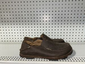 OluKai Moloa Mens Leather Casual Slip On Loafers Size EU 42 US 9 M Brown
